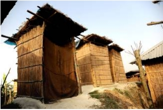 Low cost latrines raised above flood levels