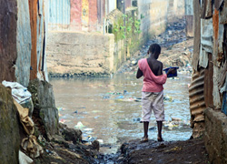 Kroo Bay slum in Freetown, Sierra Leone, 2012, during the worst cholera outbreak in nearly 15 years. Credit: Tommy Trenchard