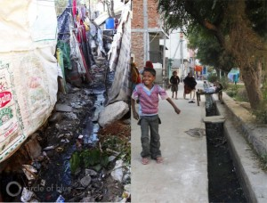 The open sewer of Vasant Kunj B5 (left) — one of Delhi's hundreds of slum villages, this one home to 5,000 people — is a trench dug out of the dirt that runs between lean-to homes made from old grain bags and a few bricks. Nearby, the 10,000 residents of Dwarka Sector 16 (right) worked with a local NGO to line their open sewer with concrete.
