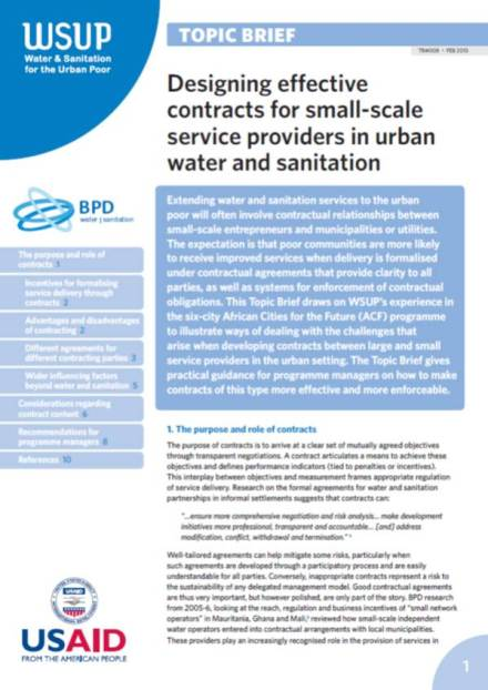 Designing effective contracts for small-scale service providers in urban water and sanitation