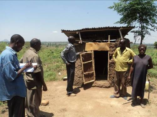 Village Health Teams (VHTs) monitoring sanitation in Uganda. Photo: Plan Uganda