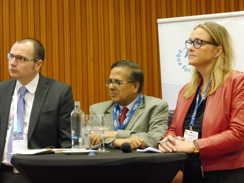 Left to right: Radu Ban (Bill and Melinda Gates Foundation), Babar Kabir (BRAC) and Bernadette Blom (Goodwell Investments), panelists at the workshop Making Sustainable Business out of Sanitation. Photo: Peter McIntyre