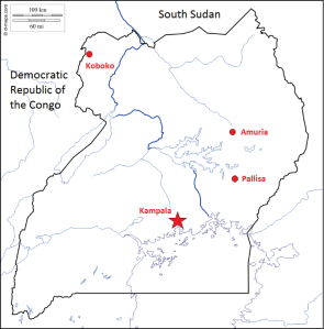 Map of districts visited in Uganda, based on image retrieved on d-maps.com.