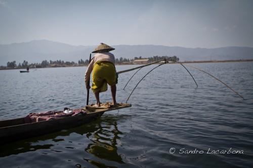 Loktak Lake fisherman, Manipur, India