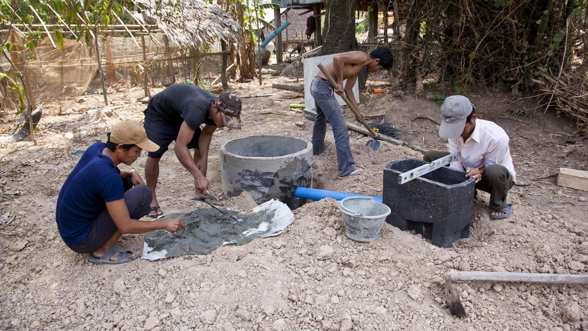 iDE Cambodia Toilet Installation
